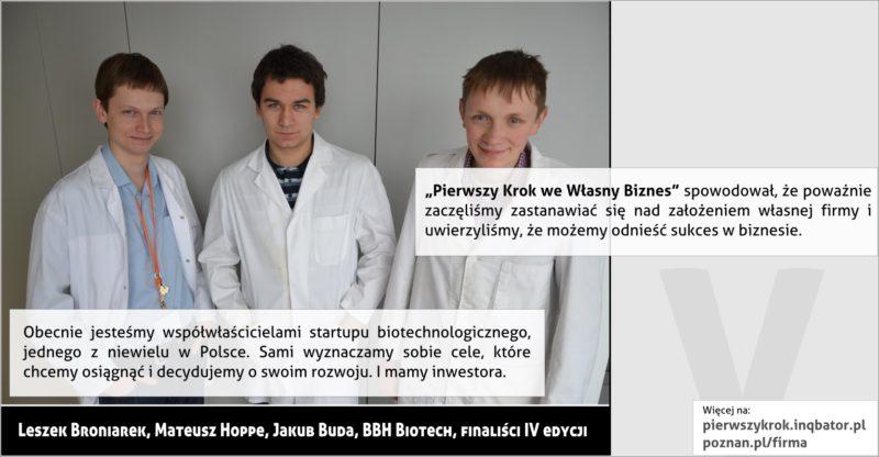 PPNT Poznan - Pierwszy krok we własny biznes - BBH Biotech