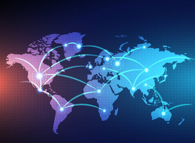 digital world map linked by lines connections network design