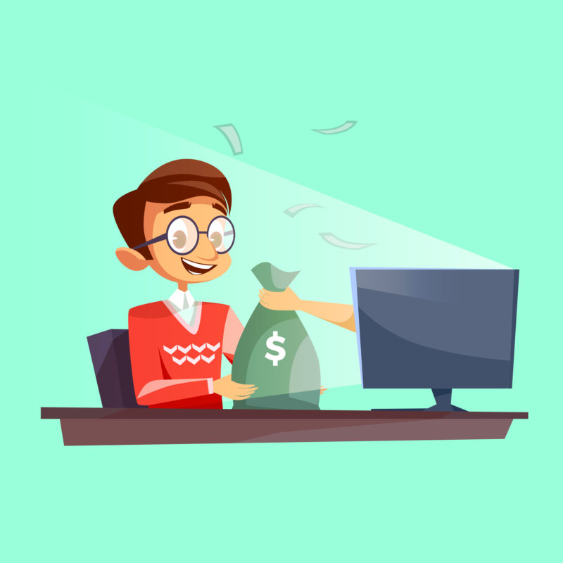 Teenager winning money in internet vector cartoon flat illustration. Young boy happy receiving dollars money bag from internet online casino lucky win fortune or giving money to rogue thief hand