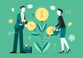 Investment tree growth vector illustration of businessman profit income of money coins on tree and woman with watering can. Cartoon flat commerce and business income concept