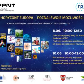 Horyzont Europa – poznaj swoje możliwości : webinaria z przedstawicielami i ekspertami Komisji Europejskiej oraz laureatami grantów ERC i MSCA